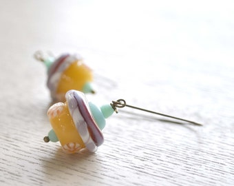 Yellow  Sweets Lampwork Earrings - Long Dangle