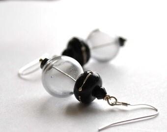 Night Sky Earrings - Black Lampwork Glass Dangle