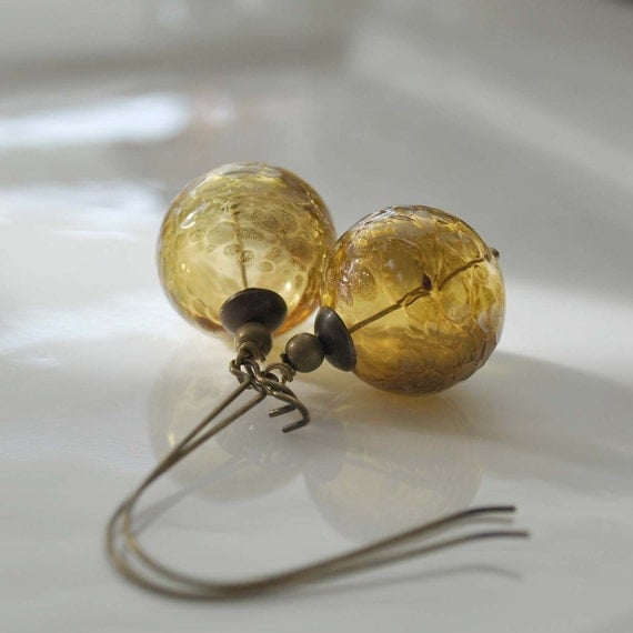 Golden Autumn Hollow Glass Earrings, Antiqued Brass, Dark Amber Round Bubble, Long Dangle