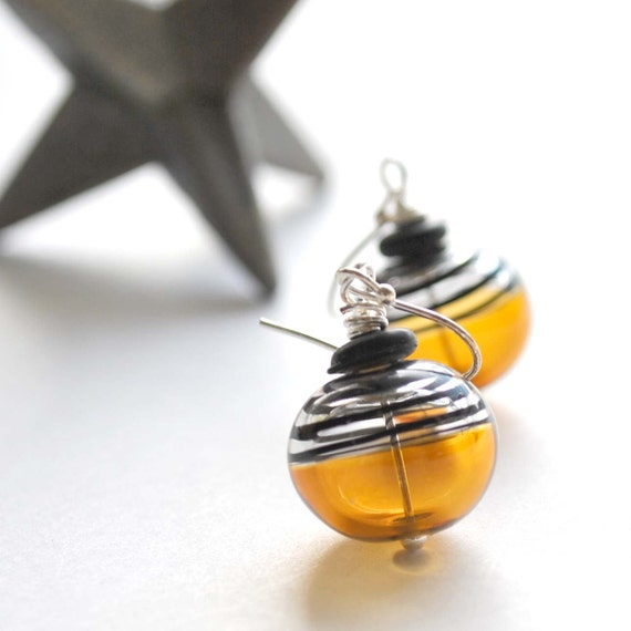 Yellow Bumble Bee Earrings on Sterling Silver, Black Striped Glass Dangle
