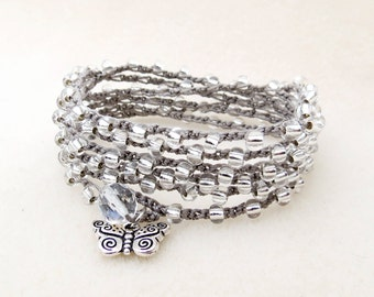 Silver Knotted Wrist Wrap Bracelet with Silver Butterfly Charm, or Boho Necklace, Czech Glass Silver Lined Beads, Crochet, Handmade Jewelry