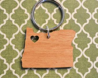 Portland, Oregon Love Wood Key Ring