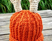 Little Hunter Antler Beanie - Ribbed Orange with Bone colored Antlers