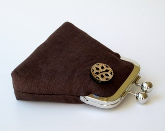 Dark chocolate brown linen purse...carved horn button...luxurious Italian flax linen...credit business ID card...cash jewelry Rx...last one!