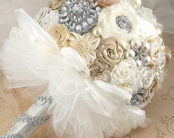 Brooch Bouquet, Champagne, Tan, Beige, Ivory, Cream, White, Wedding, Bridal, Pearls, Crystals, Vintage-Style, Gatsby, Elegant Wedding