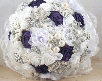 Brooch Bouquet, White, Purple, Silver, Plum, Elegant Wedding, Bridal, Jeweled, Crystals, Lace, Pearls, Vintage Style, Gatsby Wedding