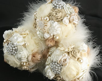 Bridesmaids Bouquets, Brooch Bouquets, Tan, Beige, Champagne, Ivory, Gatsby, Elegant Wedding, Vintage Style, Crystals, Feathers, Pearls