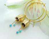 Gold hoop earrings, Turquoise earrings, Turquoise jewelery, Turquoise hoops, unique handcrafted jewelry, Bell flower earrings