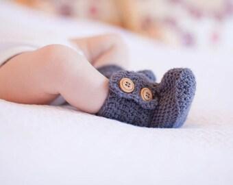 Vanilla Bean Crochet Baby Booties in Grey, Baby Ankle Booties, Ugg Boots in Grey, Baby Shoes, Baby Slippers