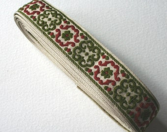 2 Pieces Vintage Woven Trim Moss Green and Burgundy Red Floral