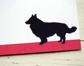 Border Collie Personalized Stationery - Dog Silhouette Flat Cards - Red and White Thank You Notes - Gifts for Pet Lovers . Set of 10