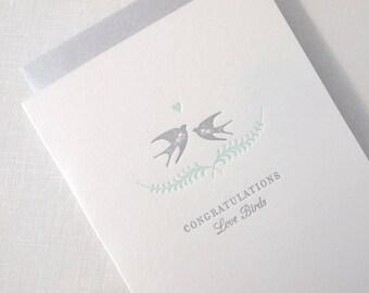 Letterpress Love Birds Congratulations Wedding Engagement Card