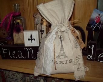 Eiffel Tower muslin bag pouch handstamped ribbon clothes pins,Paris gift bag,shabby chic,Paris decor,French decor,wedding gift bag