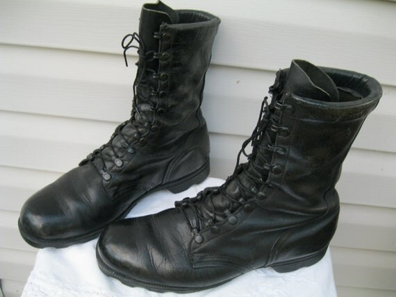 Simple Vintage Combat Boots Womens 80s Boots Black Leather 90s Gruge