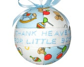 Thank Heaven for Little Boys Baby Blue and White Newborn Shower Gift Idea for Children and Kids by CraftCrazy4U
