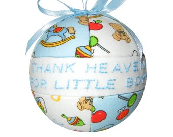 Ornament / Thank Heaven for Little Boys Blue & White Christmas Ornament / Baby Shower Gift Idea by CraftCrazy4U on Etsy