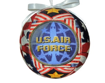 US Air Force Patriotic Handmade Christmas Ornament  Quilted Ball Ornament Soldiers Military Dad Father Grandfather Grandad by CraftCrazy4U