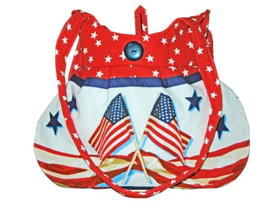 Women's Roomy Handbag Red White Blue Ladies Purse Patriotic Shoulder Bag Purse Flag Fabric Purse Gift For Mom or Grandma by CraftCrazy4U