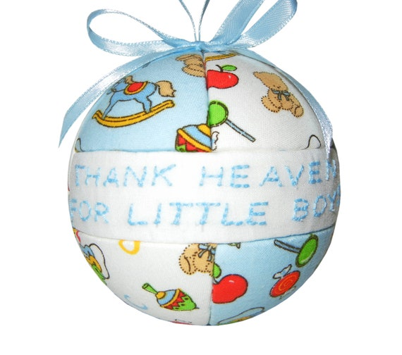 Baby Boy Gifts Christmas : Thank heaven for little boys blue white christmas ornament