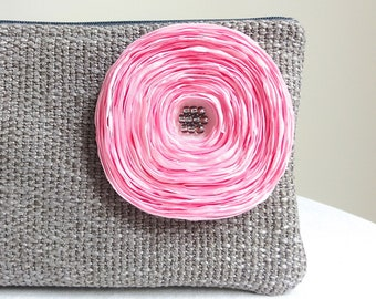 Dove Grey Clutch / Handmade Pink Satin Flower - READY TO SHIP