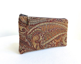 Paisley Wine Clutch - Deep Red Leaves Small Evening Bag - READY TO SHIP