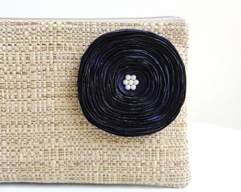 Tan Clutch with Purple Grape Satin Flower - READY TO SHIP