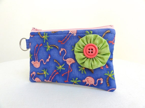 Blue & Pink Flamingo Flower Zippered Bag / Coin Purse / ID Case / Gadget Pouch with Split Ring - Ready to Ship