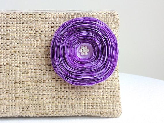 Tan Clutch Handbag / Handmade Lilac Purple Satin Flower