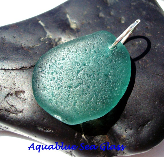 Teal   Drilled  Sea Glass   Pendant  Beach Glass Drilled  FREE Shipping (125)