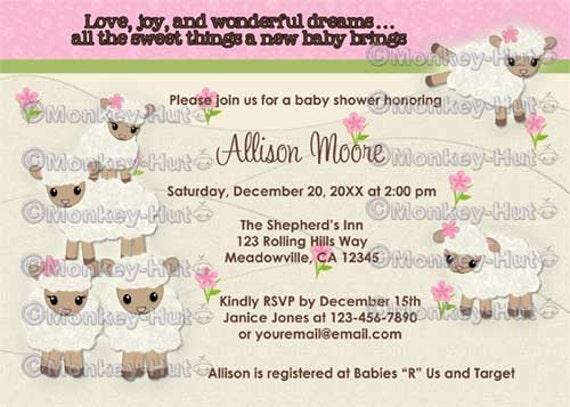 sweet dreams little lamb baby shower invitations sheep girl, Baby shower invitations