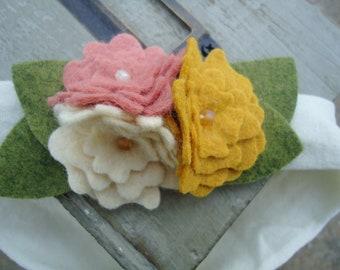 Felt Flower Headband -Serenity Wool Pink, Cream , Yellow