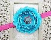 Turquoise Flower Headband, Silk Flower w/ Rhinestone Center Stretchy Hot Pink Headband or Hair Clip, Baby Toddler Child Girls Headband