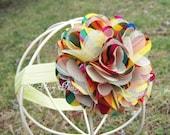 Rainbow Flower Headband, Retro Rainbow Satin & Tulle Flower Puff Headband or Hair Clip, Baby Toddler Child Girls Headband