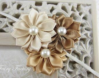 Gold Flower Headband, Ivory, Champagne Gold & Brown Satin Flower Trio w/ Pearls Headband or Hair Clip, Baby Toddler Child Girls Headband
