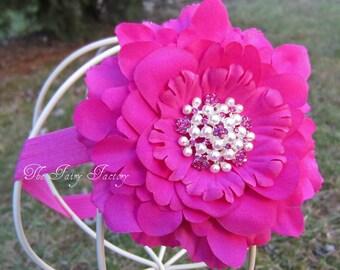 Hot Pink Flower Headband, Velvety Flower w/ Pearl & Crystal Flower Center Headband or Clip, The Eva, Baby Toddler Child Girls Headband