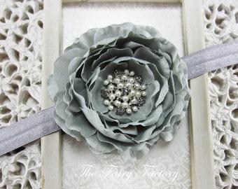 Gray Flower Headband, Silk Flower w/ Pearl and Gray Rhinestone Center Stretchy Silver Headband or Hair Clip, Baby Toddler Girls Headband