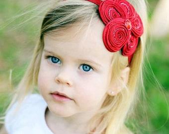 Red Flower Headband, Posh Red Beaded Satin Flower Red Headband or Hair Clip, Christmas Headband, Baby Toddler Child Girls Headband Adult