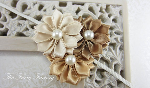 Gold Flower Headband, Ivory, Champagne Gold & Brown Satin Flower Trio w/ Pearls Headband or Hair Clip, Baby Toddler Child Girls Headband