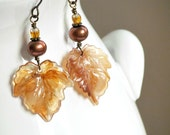 40% Off - Brown Maple Leaf Earrings, Acrylic Leaves, Copper Freshwater Pearls, Czech Glass, Antiqued Brass, Handmade