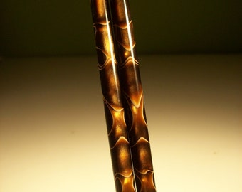 "Hair sticks acrylic Copper Haze choose 5"" 6"" 7"""