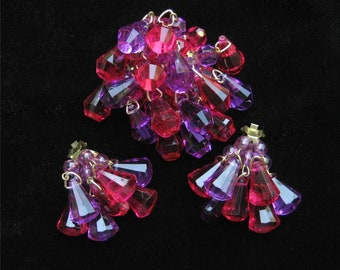 West German Pink and Purple Acrylic Crystal Dangling Demi