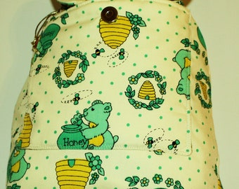 Hand Crafted  Cool Honey Bears and Bees Backpack- Diaper Bag -plenty of room -Back to School fOR CHILD.