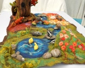 Waldorf Play scape Play mat hand felted Play item with cave, river, rocks, forest area and flower field Wet Felted Needle felted
