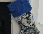 Blue and Silver Quilted Christmas Stocking with blue batik cuff