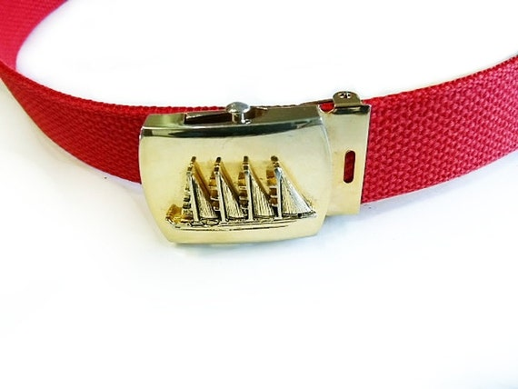SALE 60s Red belt Sail Boat Belt Gold Solid Brass Buckle Vtg Woven Fabric Belt