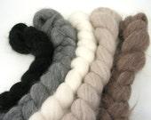 Spinning Fiber - Undyed baby alpaca combed top - 4 oz braids