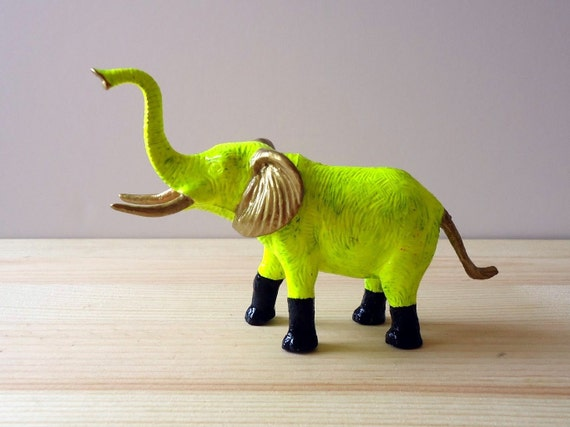 Kitsch figurine / Elephant / Home decor / Altered plastic toy / Neon yellow, black and gold / animal art / colorful