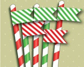 PRINTABLE PDF Christmas Candy Cane Stripe Straw/ Toothpick Flags
