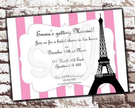 printable pdf paris theme customized by felixandfelicityshop, Bridal shower invitations