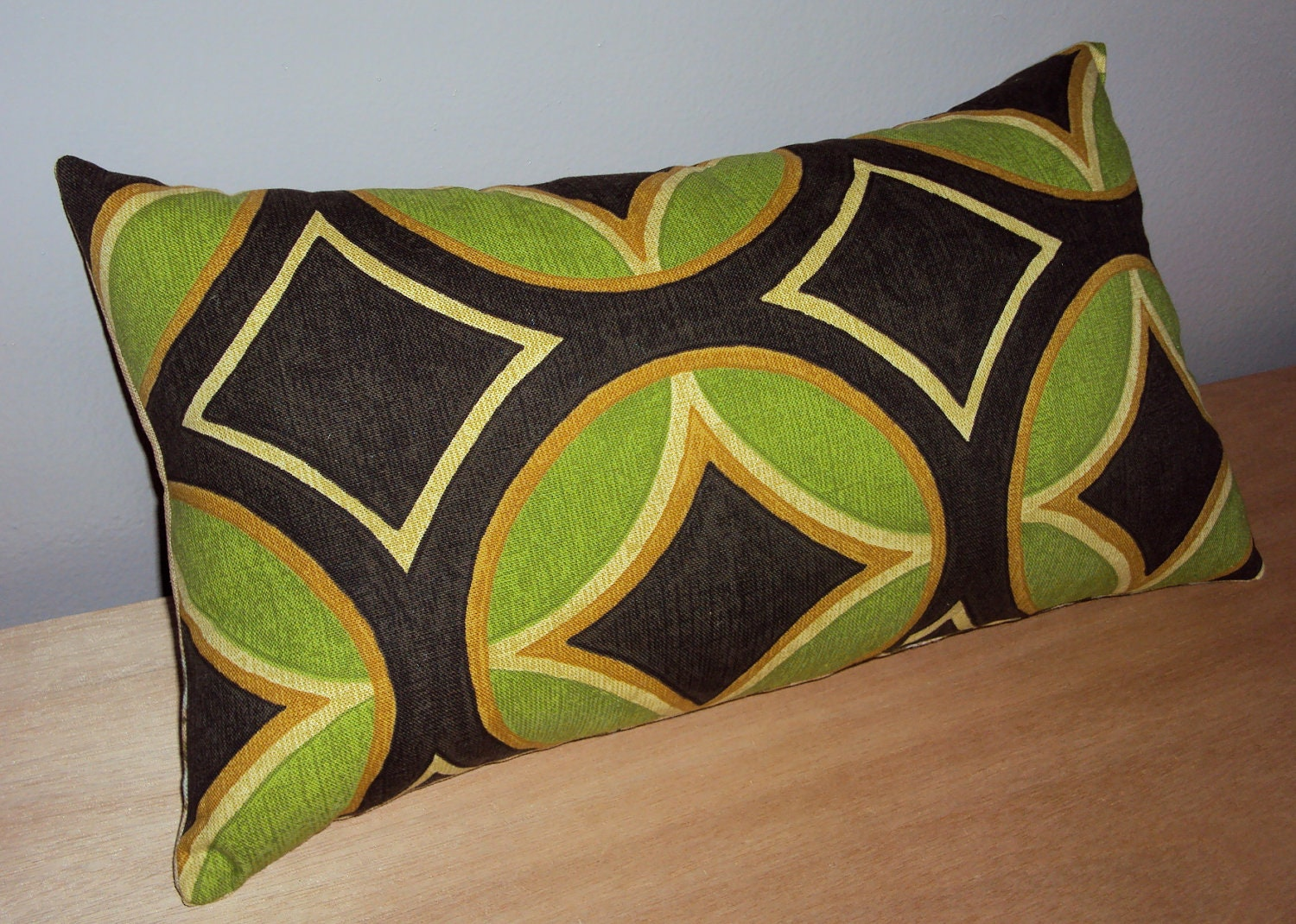Mod Green Brown Medallion Decorative Lumbar Pillow